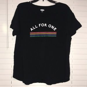 """Black LGBT """"All For One"""" Short Sleeve Tee"""